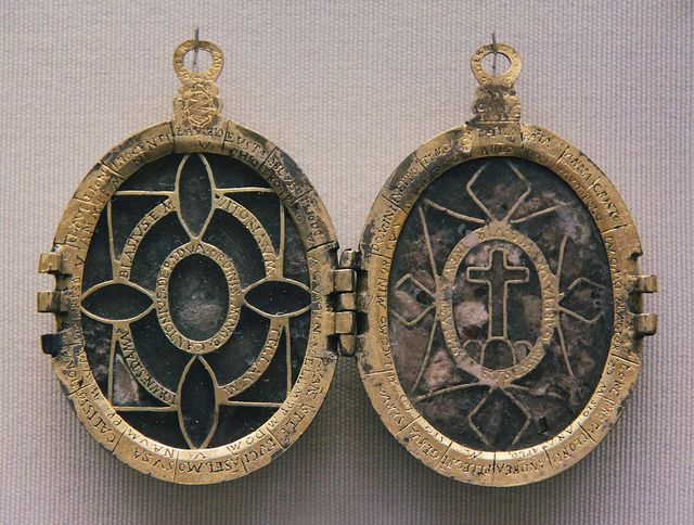 Reliquary pendant pendants saints and metals reliquary pendant gilded metal locket with two reliquary compartments on each side the saints relics identified on the covering plaque aloadofball Image collections
