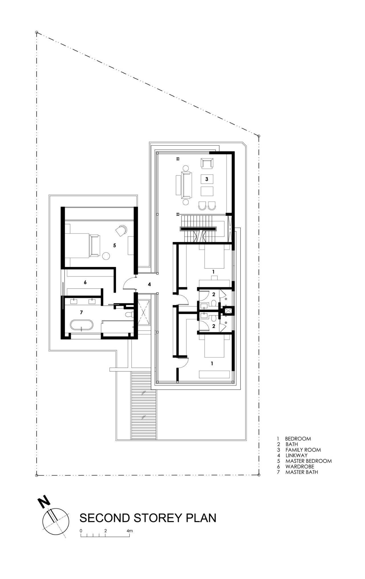 Travertine Dream House,second floor plan