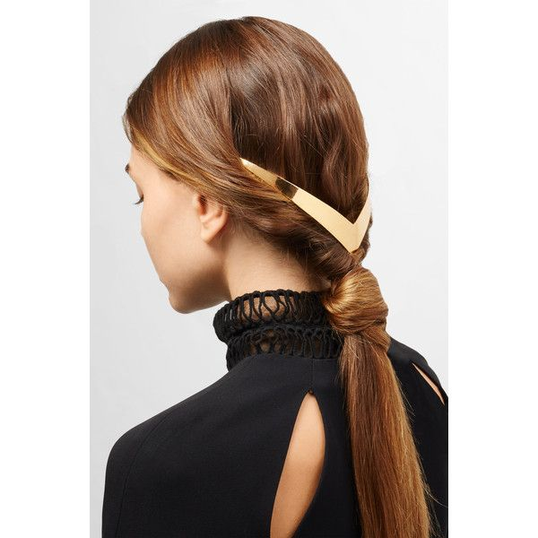 Lelet Trek Halo gold-plated hair slide (€400) ❤ liked on Polyvore featuring accessories, hair accessories, hair comb and hair comb accessories
