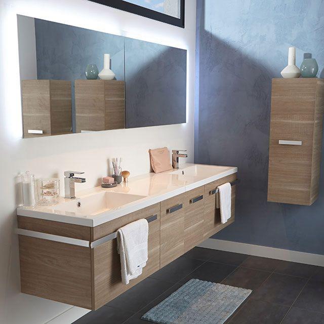 Meuble de salle de bain décor bois 210 cm belice castorama