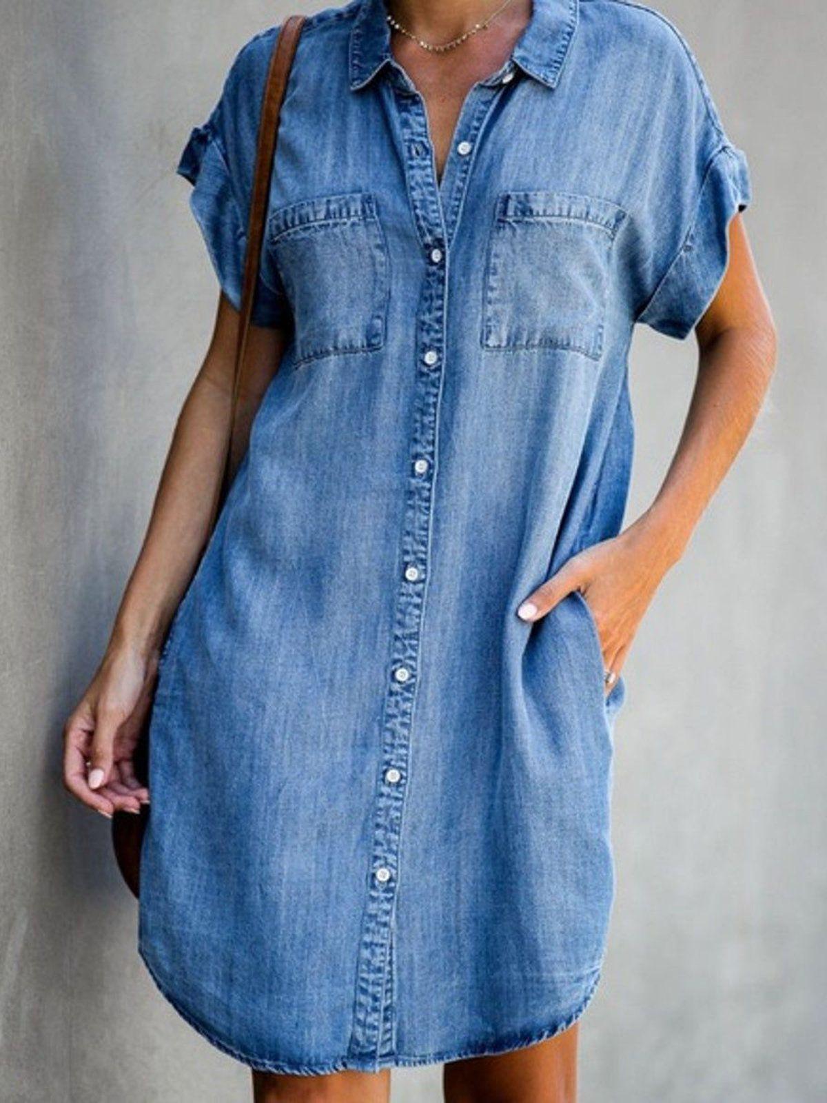 Blue Casual Denim Plain Shirt Collar Causal Dresses Noracora Short Sleeve Denim Dress Casual Summer Dresses Casual Short Sleeve Dress [ 1600 x 1200 Pixel ]