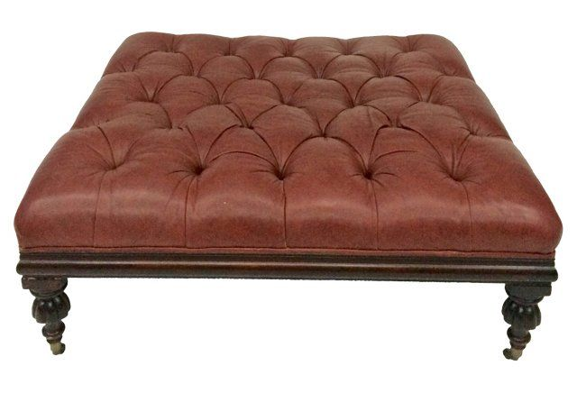 Peachy Large Tufted Leather Ottoman By Henredon Have Several Uwap Interior Chair Design Uwaporg