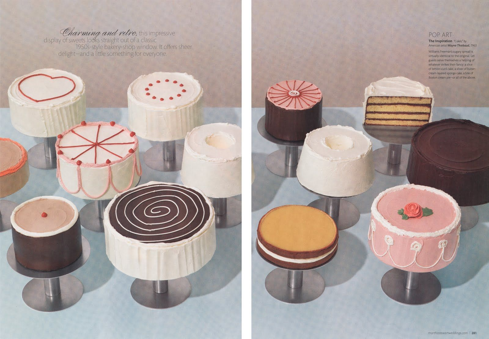 """Someone actually made the cakes from Wayne Thiebaud's famous painting """"Cakes""""!"""