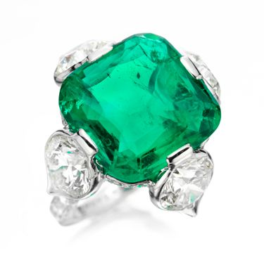 An Old Colombian Buff top Emerald and Diamond Ring by Viren Bhagat.