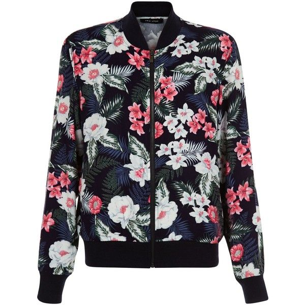 b1b08113c93 New Look Blue Tropical Floral Print Bomber Jacket ( 27) ❤ liked on Polyvore  featuring outerwear