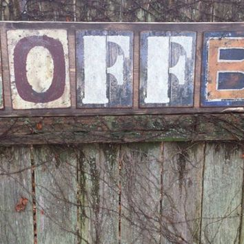 large 4 ft rustic coffee shop store sign wood metal letters 11 1 - Distressed Cafe Decor