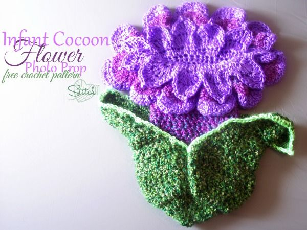 Infant Cocoon Flower Photo Prop Free Crochet Pattern Stitch11