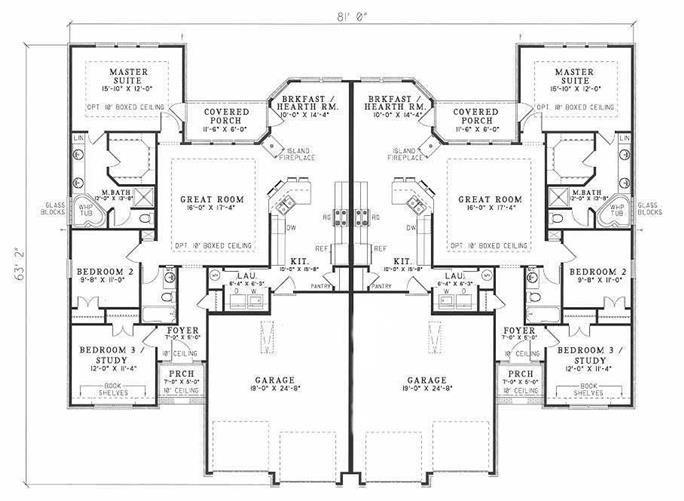 Duplex House Plan #153-1585: 3 Bedrooms, 1520 Sq Ft Per ...