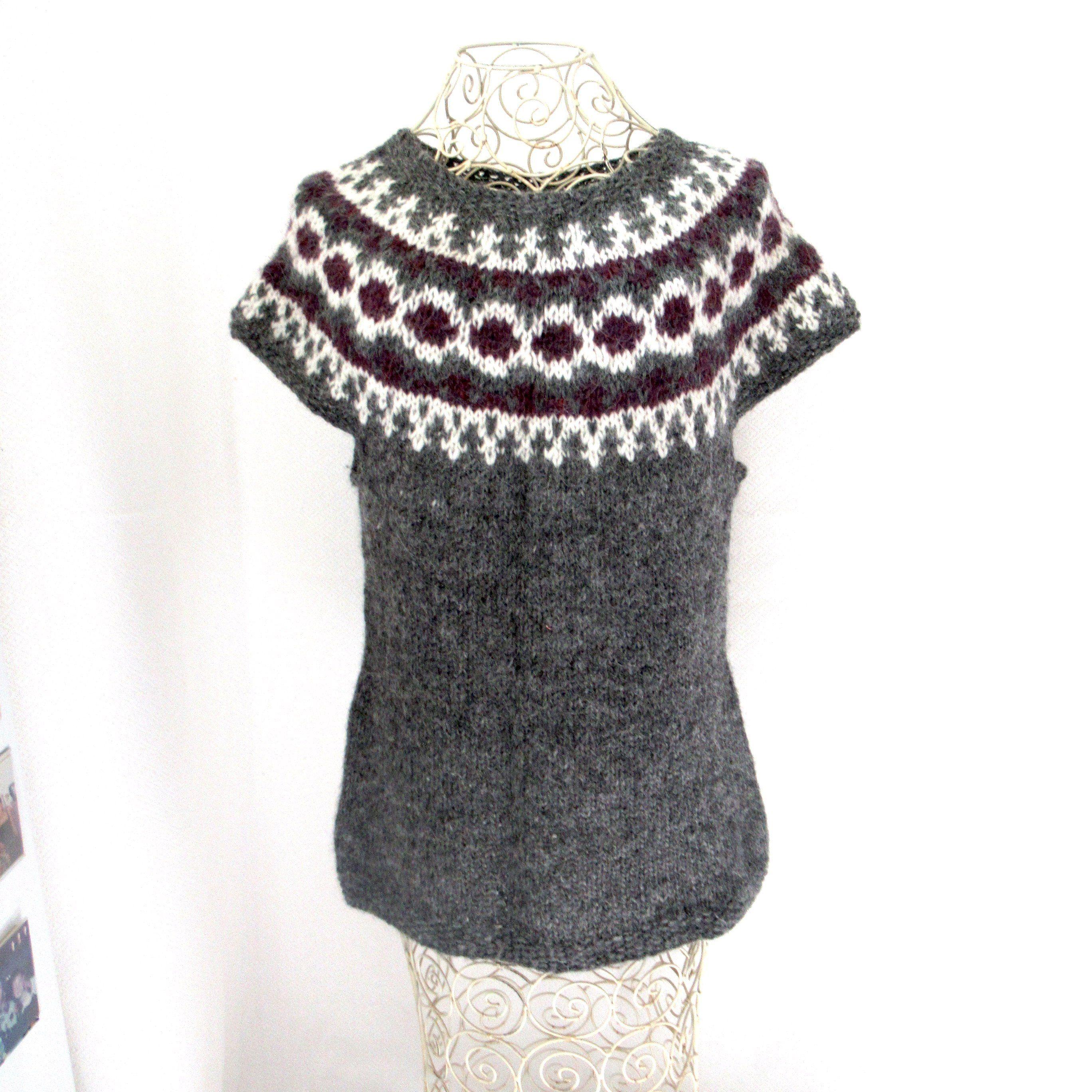 Gray nordic fair isle sweater tunic in wool yarn