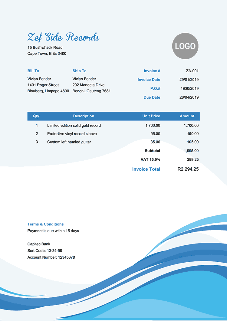 Invoice Template Za Cool Waves Free Receipt Template Invoice Template Receipt Template