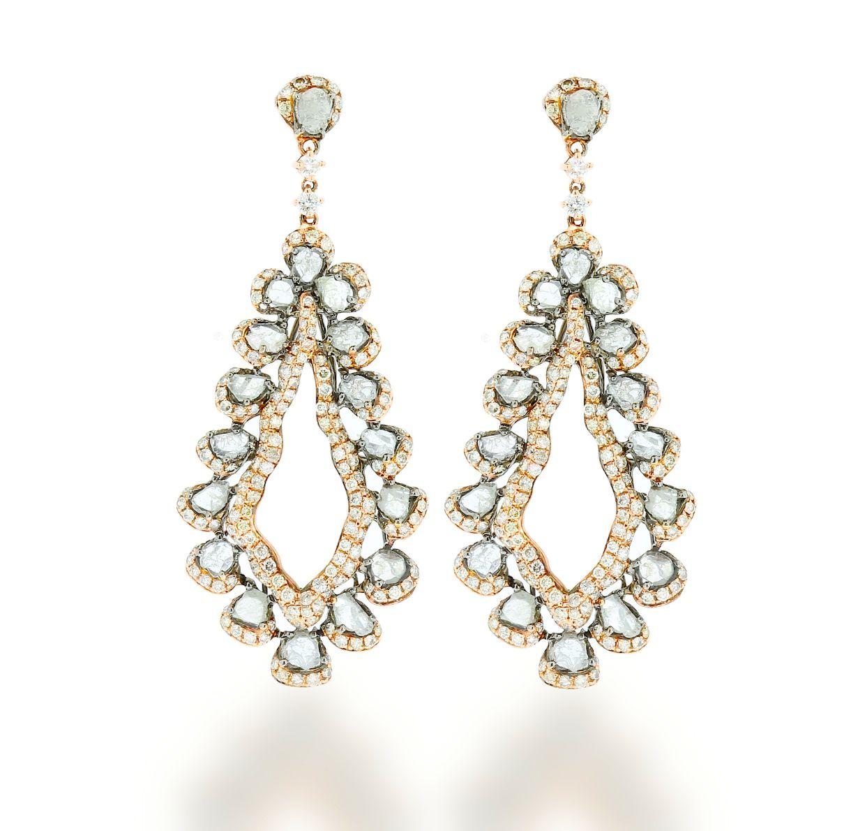 L Dezen Jewellery Peru Rose Gold Slice Diamond White Diamond