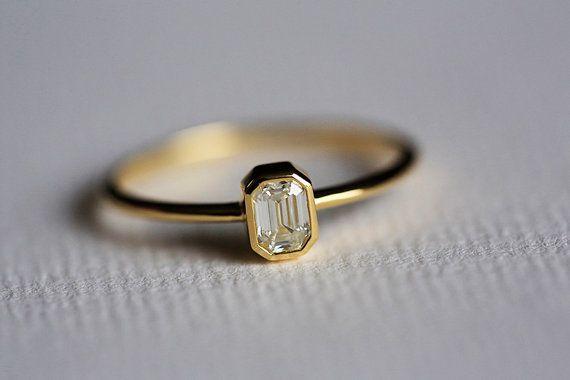 Black Friday SALE Emerald Cut Diamond Ring Emerald by MinimalVS