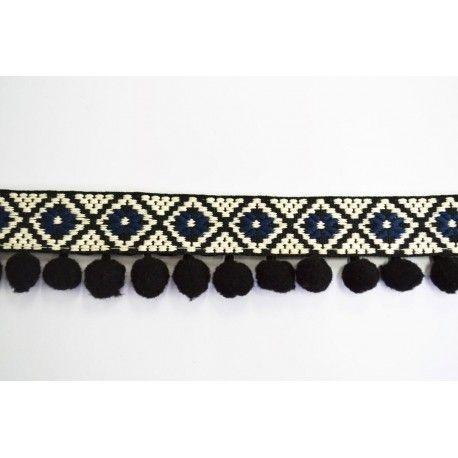 Galon pompon noir brodé ethnique bleu et noir 40mm | Mercerie | Pinterest |  Mercerie, Ethnique et Broder