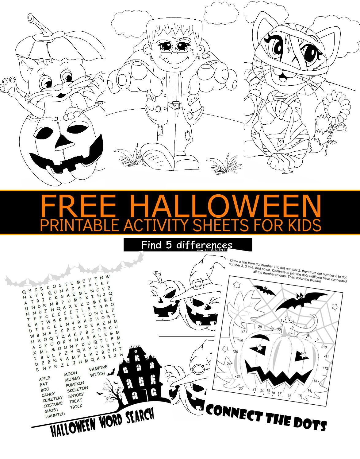 free halloween printable activity sheets for kids - Activity Sheets For Kids