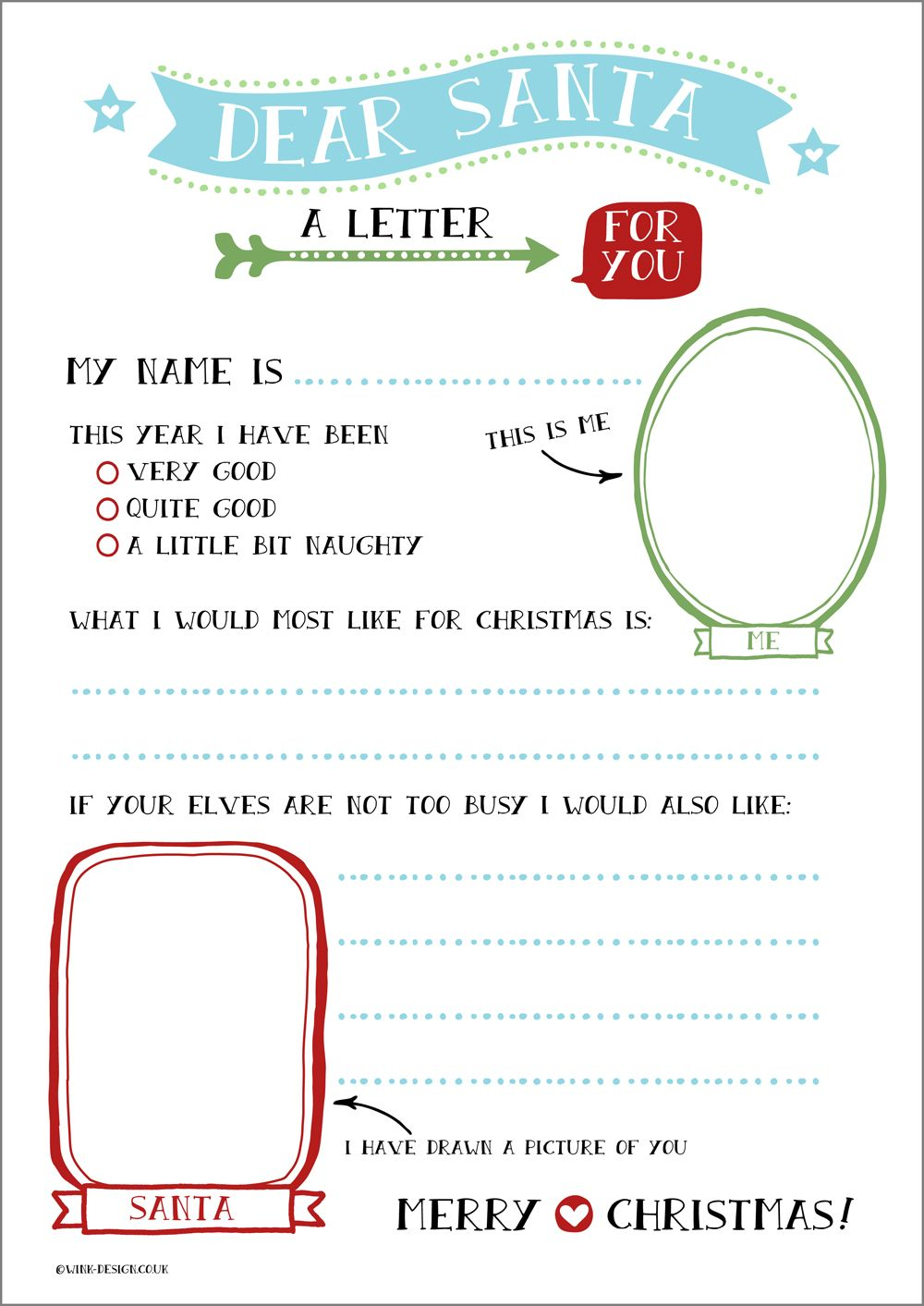 #free #printable Letter To Santa, With Space For Your Child To Draw Santa  Kids Christmas List Template