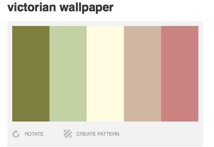 Victorian Wallpaper Color Palette Moss Green Celery Cream Light Brown Rose Green Colour Palette Brown Color Palette Decor Color Palette