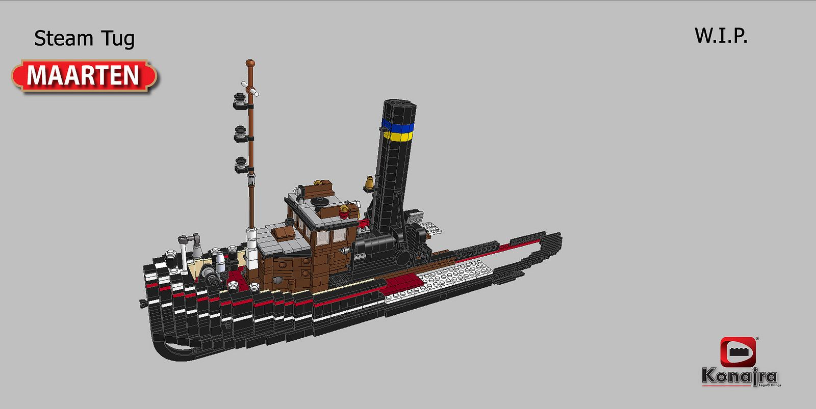 https://flic.kr/p/bLSUpc | stoomsleper maarten | While I'm currently collecting bricks for the Consul Pust, I wanted to start a new model.  I already finished the Bucyrus 495 HR super 2 in Ldraw so I felt it was time for a new ship.  At first I wanted to start on the brand new Greenpeace ship Rainbow Warrior 3. But that one would become too large. In my scale it would come in at 1,5 m long over 30 cm wide. and with it masts it would be 1,5 m high. Thats just way to big to ever find a place…