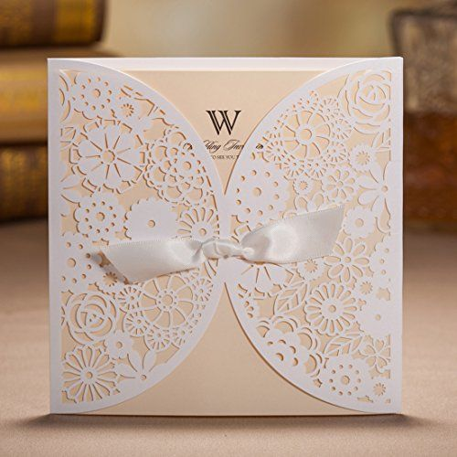 Buy wishmade 50x laser cut trifold lace sleeve wedding invitations buy wishmade 50x laser cut trifold lace sleeve wedding invitations cards kits for wedding engagement bridal shower baby shower birthday quinceanera stopboris Image collections