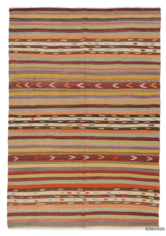 Multicolor Vintage Denizli Kilim Rug 5 3 X 7 9 63 In X 93 In K0042884 Vintage Kilim Rug Kilim Rugs Rugs