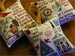 """Gorgeous Idea to do each chart as an individual pillow ornament • designs shown are from """"Christmas at Hawk Run Hollow"""",  a Carriage House design"""