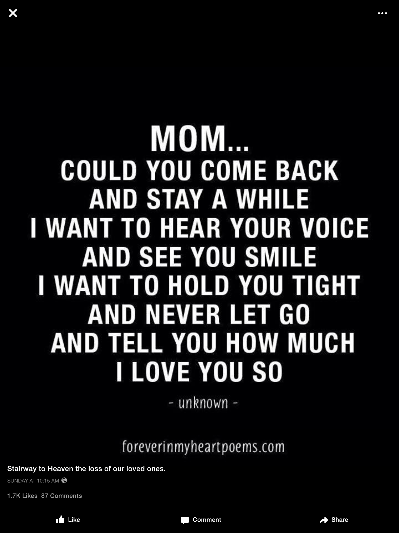 I Want My Father And Sister To Come Back Too In Memory Of Mom