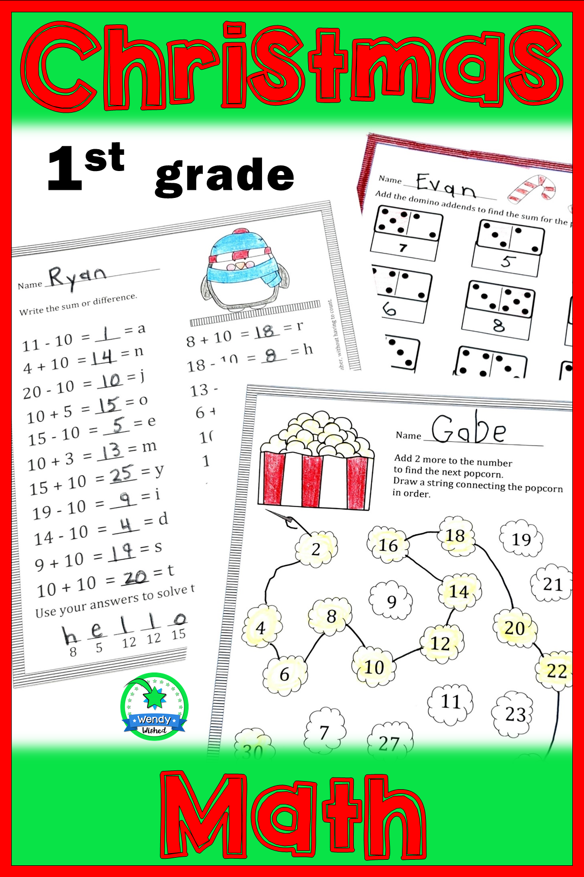 Christmas Math Worksheets For 1st Grade Christmas Math Worksheets Christmas Math Math Worksheets