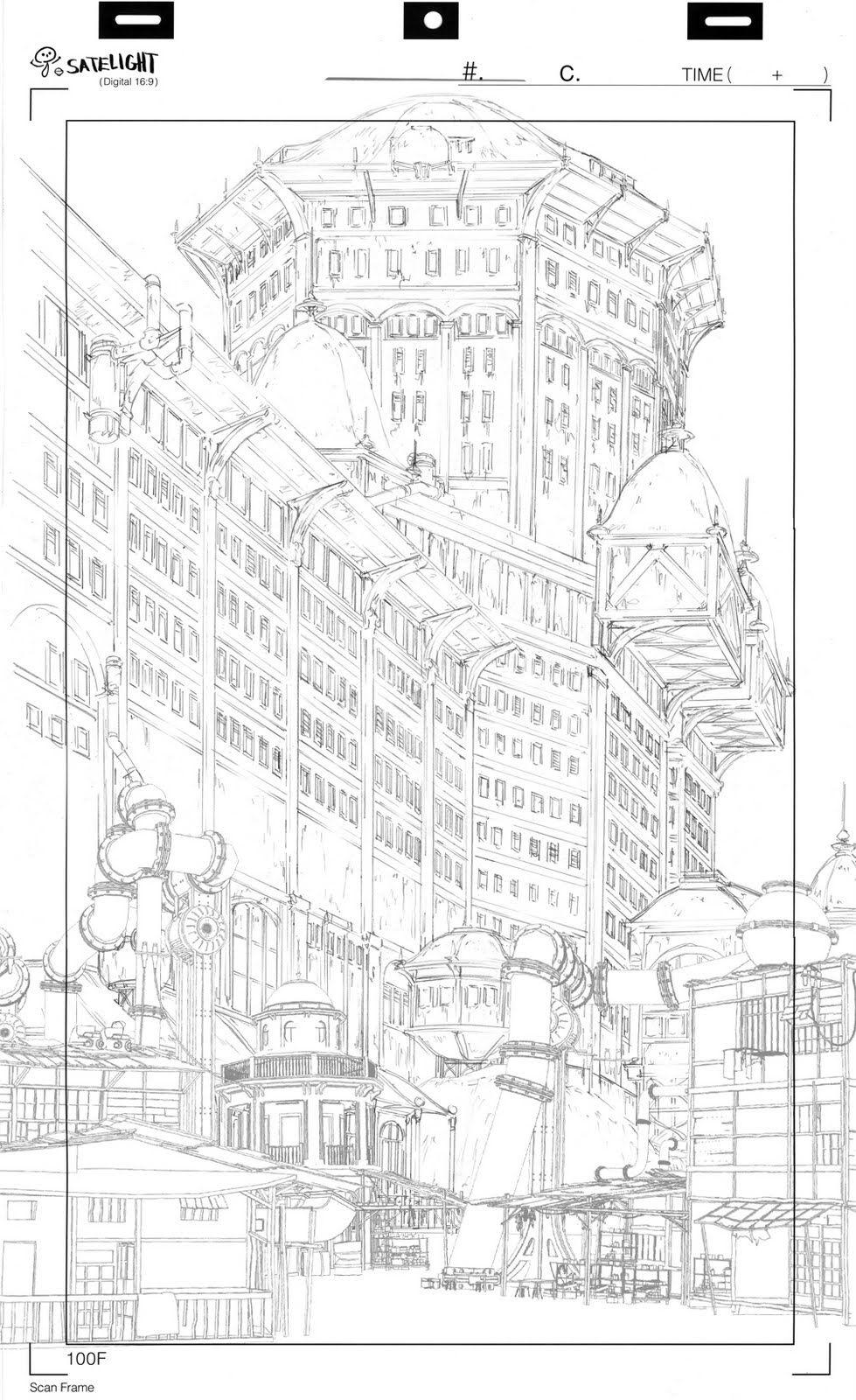 Background Design 背景 設定 街 イラスト 漫画の背景 建築