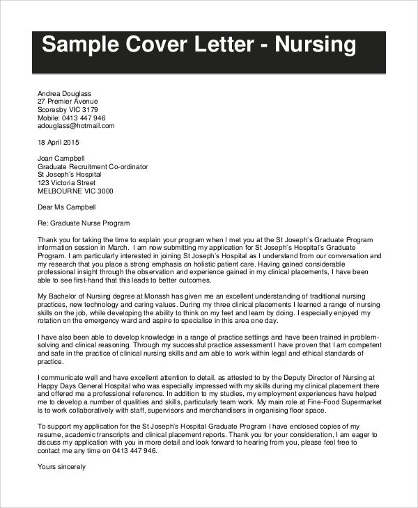 sample cover letter for nursing resumeg resume documents pdf word - graduate nurse sample resume