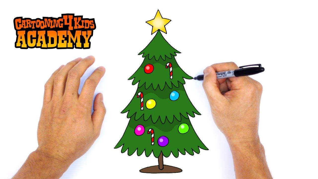 How to Draw a Christmas Tree- Art for Beginners   Christmas tree art, Cartoon christmas tree ...