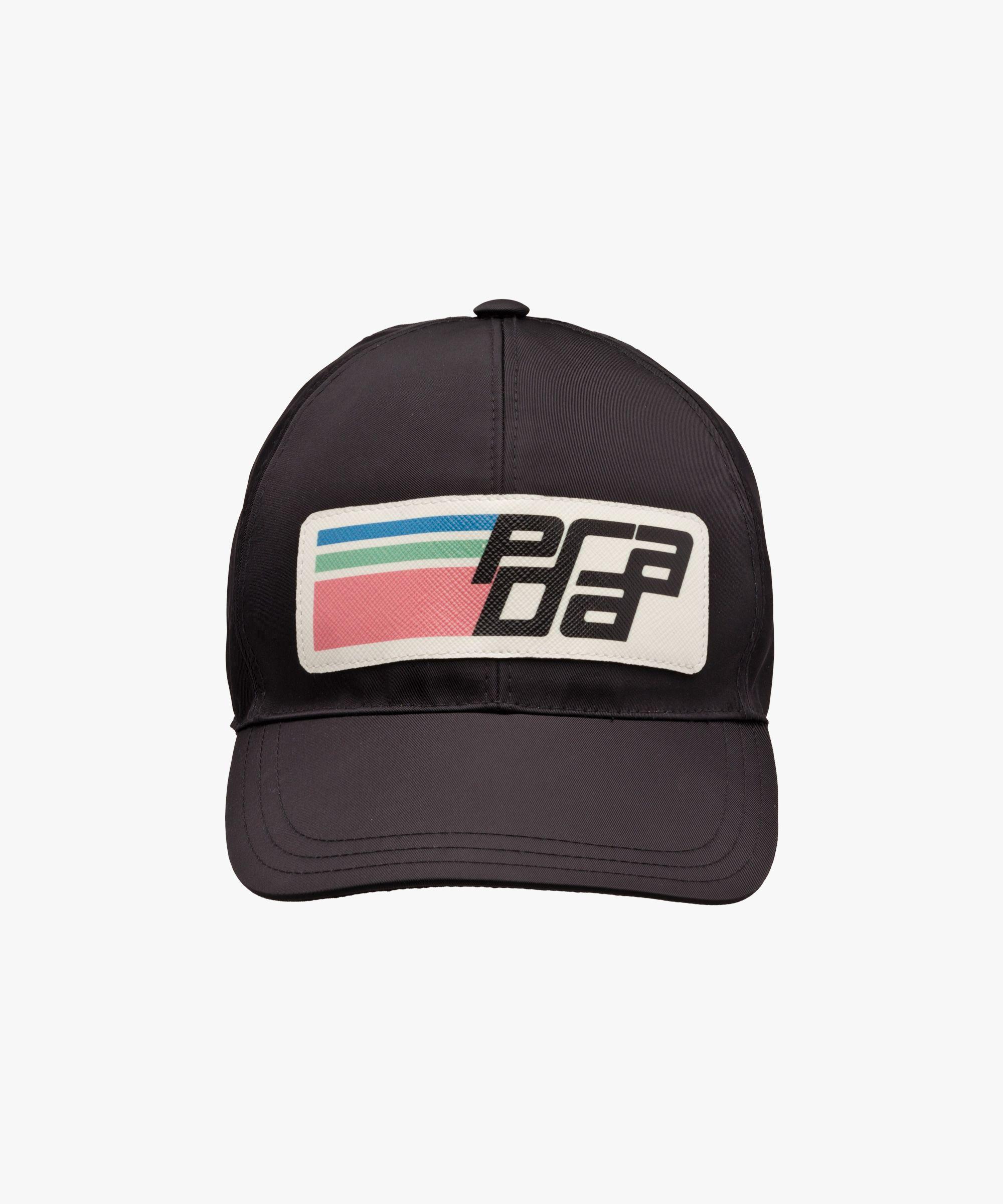 36a4c507fc1 Prada - Black nylon logo baseball cap