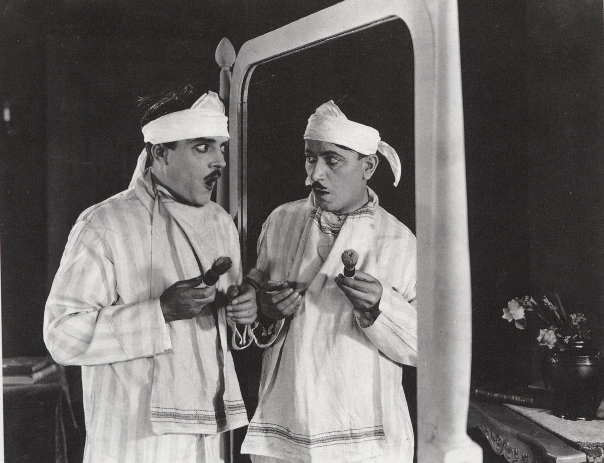 1921 Pyjamas in Mirror Early Vintage   Silent film, Famous comedians, Film