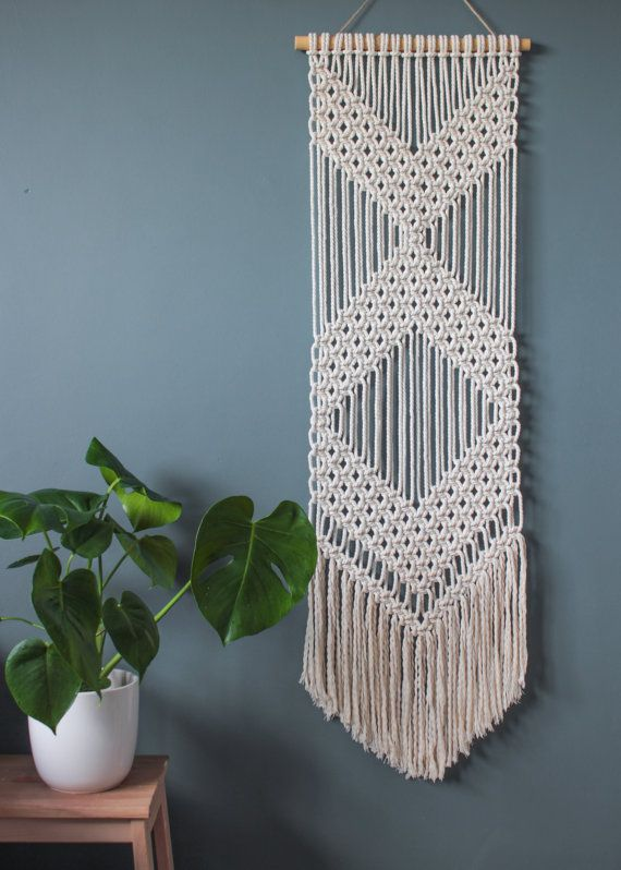 macrame wall hanging chevrons 100 cotton cord in natural with bamboo tenture murale. Black Bedroom Furniture Sets. Home Design Ideas