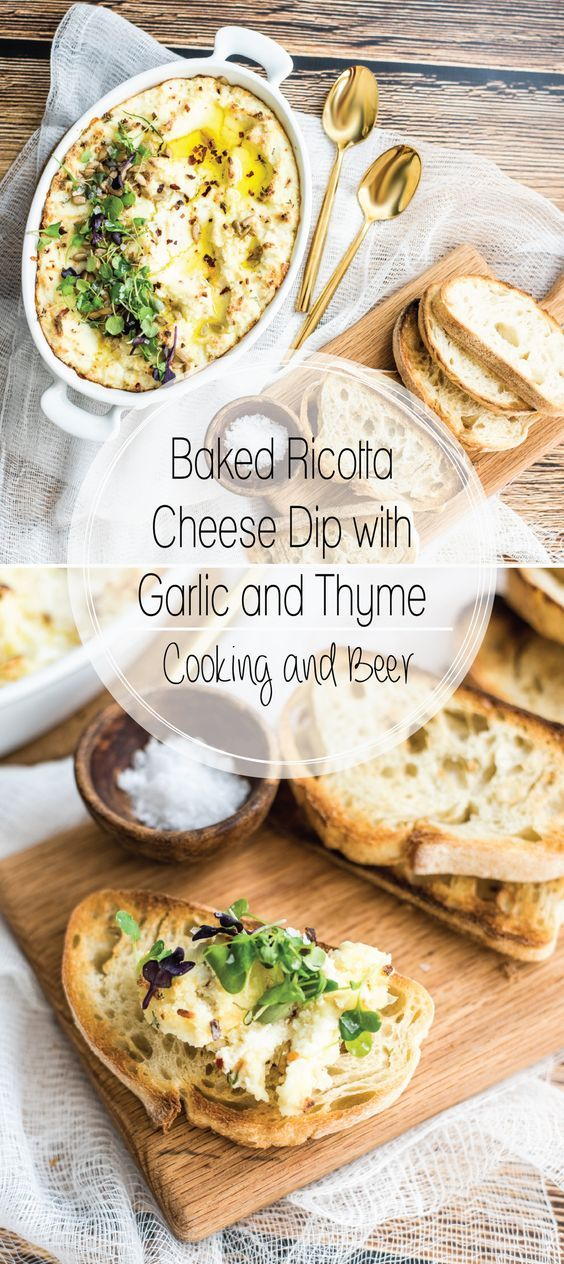 Baked ricotta cheese dip with garlic and thyme is the perfect simple and quick…