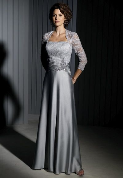 0420f409f92d Cameron Blake Evening Dress with Lace Sleeves 111676 - French Novelty