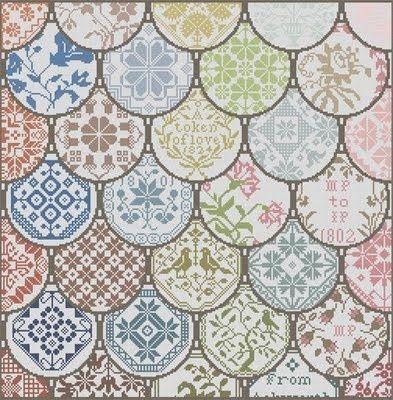 free chart quaker cushion cross stitch.