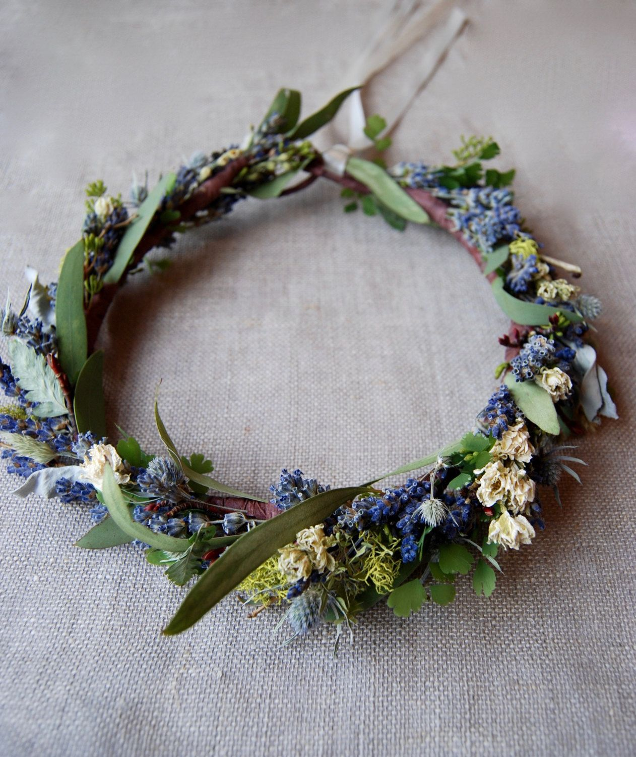 Woodland Meadow Flower Crown Of Lavender Larkspur Lichens Moss Ferns Seeded Eucalyptus Grasses And Other Drie Flower Crown Floral Crown Veil Meadow Flowers