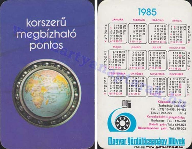 1985 1985 0639 Regi Magyar Kartyanaptarak Pocket Calendar