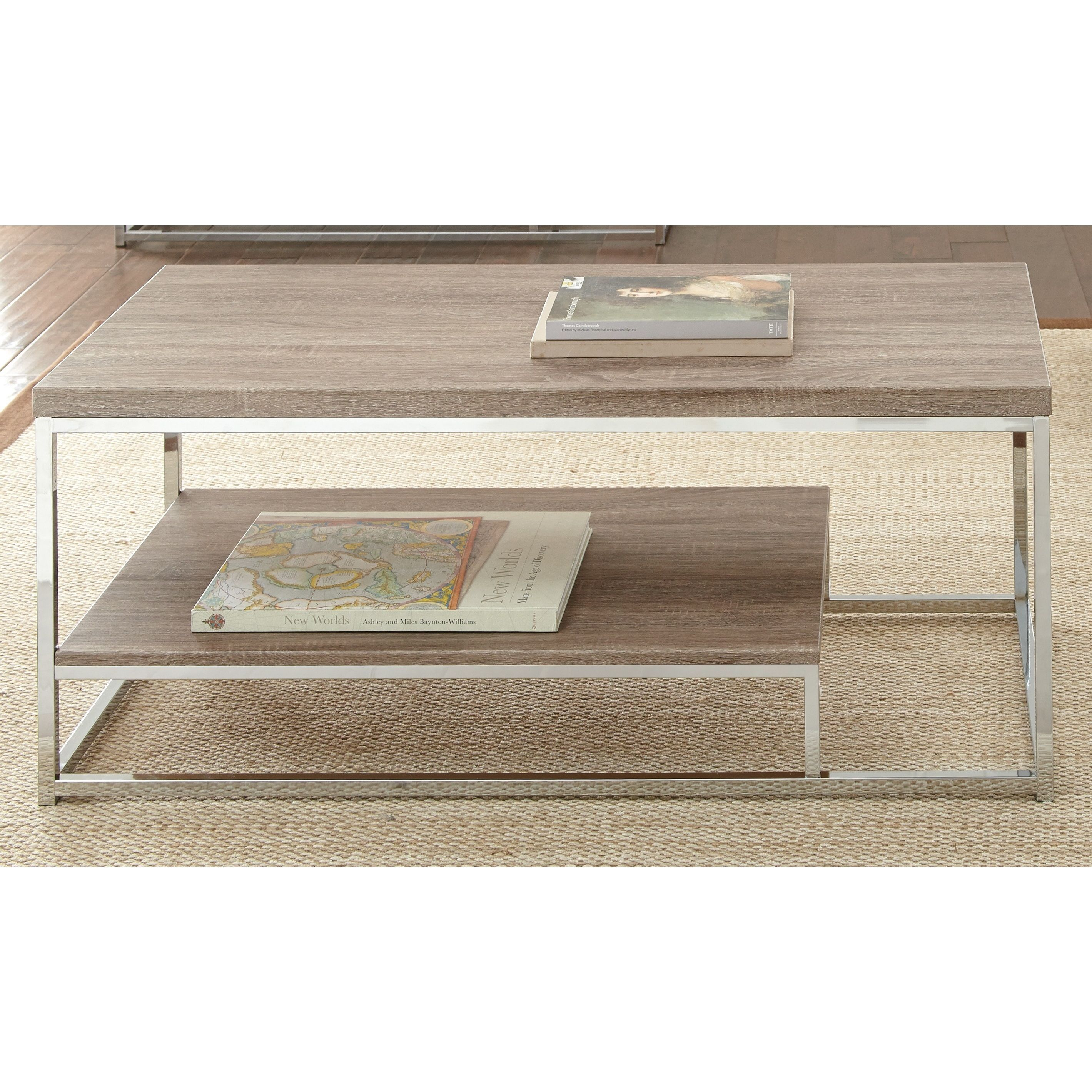 Lennox Chrome and Faux Wood Coffee Table Overstock Shopping