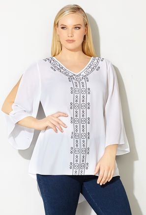 ae2c33db33e Womens Plus Size Blouse Embroidered Shirt from Avenue Spring Blouses