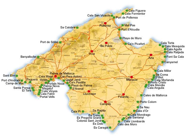 Mallorca Map Calas Mallorca Playa