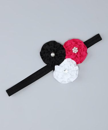Take a look at this Fuchsia & Black Flower Headband by The Bow Band on #zulily today!