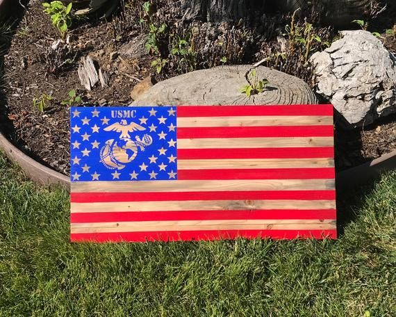 Navy Rustic American Wood Flag 13x24 Inches