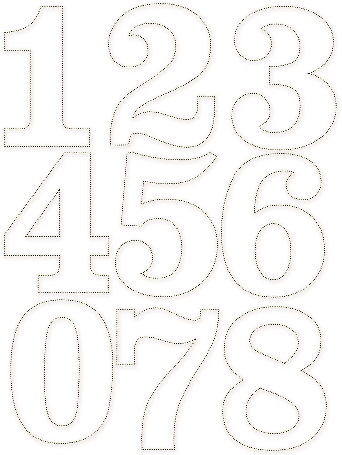 Dotted numbers download templates pinte for Number 2 cake template
