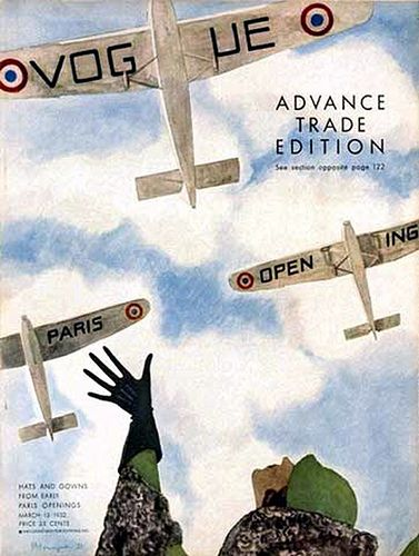 Vintage Vogue Cover--Flapper Watching Airplanes |  Flight