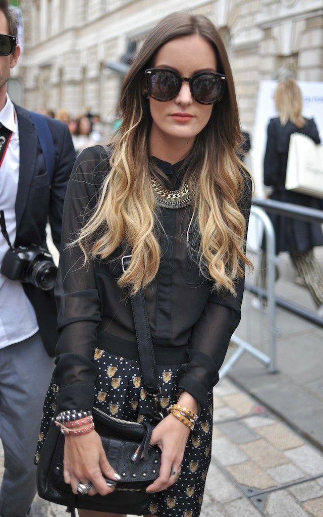 El ombré sigue siendo el favorito de las street stylers y modelos como Lily Aldridge. Está técnica añade brillos y un tono más claro en la parte baja del cabello. También puedes intentar el ombré pero con tonos pastel. | Ultrafemme