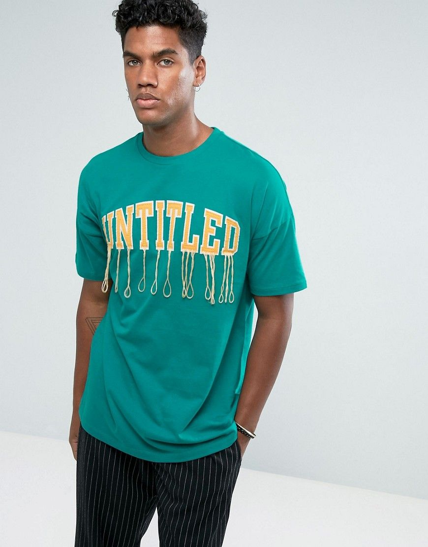 ASOS Oversized T-Shirt With Shredded Embroidery In Green - Green