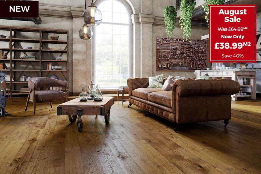 Pin By Helen Savill On Floor Industrial Style Living Room Rustic Oak Flooring Oak Floors