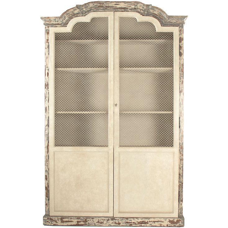 Furniture :: Cabinets :: Distressed French Chicken Wire Door Cabinet ...