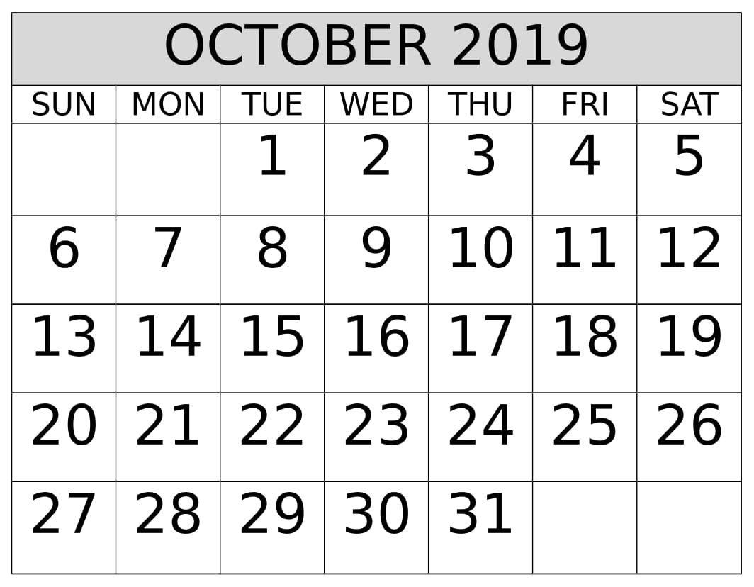 October 2019 Calendar Printable Template Pdf Word Excel
