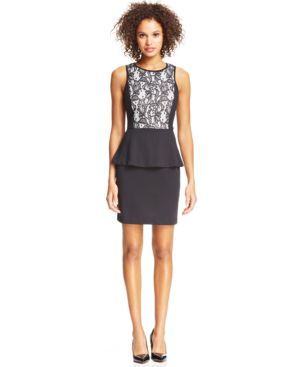 kensie Lace Peplum Dress (887922775656) A feminine peplum hem and lace makes this kensie dress a chic pick for soiree style!